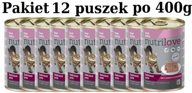 Nutrilove Premium Pyszny pasztet - danie z cielęciny dla kota 12x400g