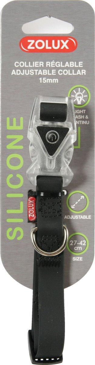Zolux Obroża silikonowa świecąca - regulowana czarna 27-42cm/15mm
