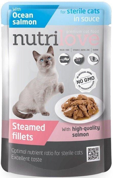 Nutrilove Premium Sterile Gotowane na parze delikatne fileciki z łososiem w sosie dla kotów sterilizowanych 28x85g