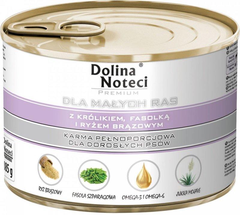Dolina Noteci Premium Dla małych ras Z królikiem, fasolką i ryżem brązowym 12x185g