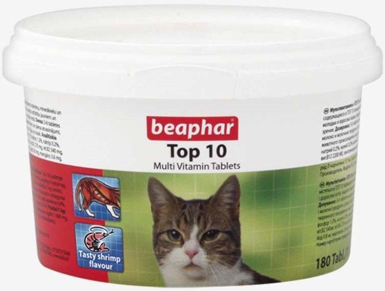 Beaphar Top 10 - tabletki multiwitaminowe z dodatkiem tauryny dla kotów 180szt.