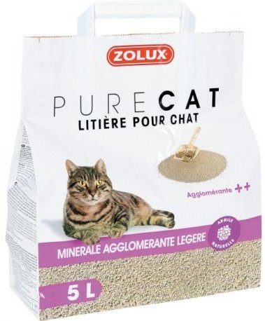 Zolux Pure Cat - Żwirek mineralny dla kota - zbrylający i lekki 5l