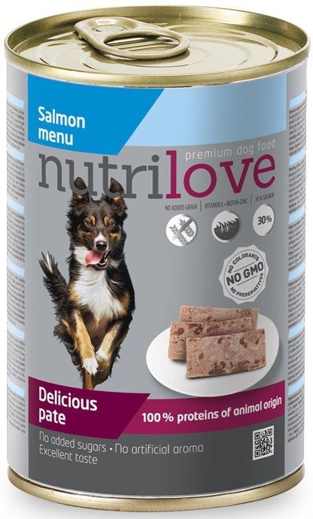 Nutrilove Dog Premium Pyszny pasztet dla psa z łososia 12x400g