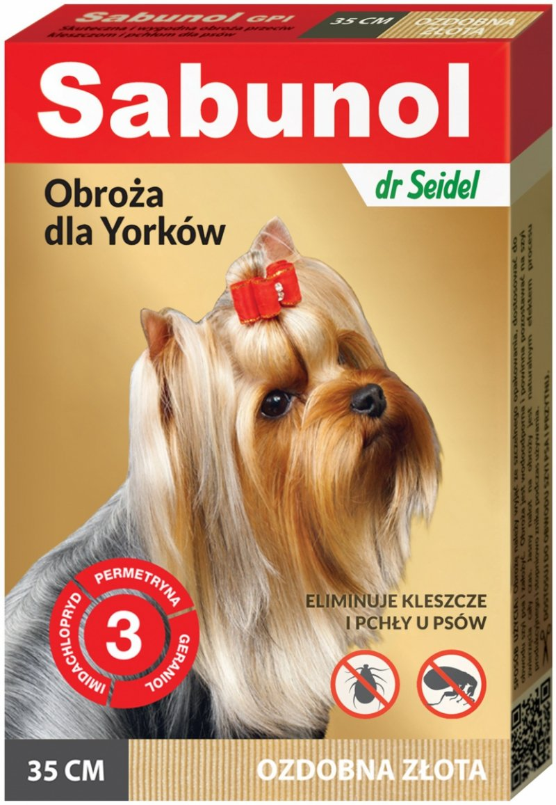 Sabunol Obroża przeciw pchłom i kleszczom dla psów 35cm - złota