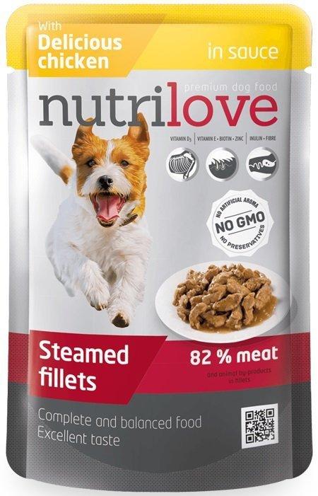 Nutrilove  Dog Premium Gotowane na parze delikatne fileciki z kurczakiem w sosie 28x85g