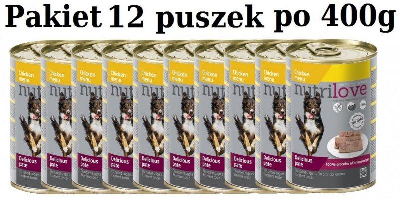 Nutrilove Dog Premium Pyszny pasztet dla psa z kurczaka 12x400g