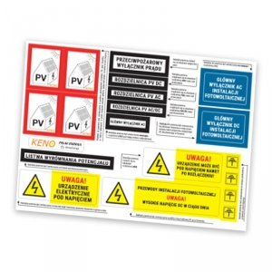 Zestaw naklejek do oznakowania instalacji