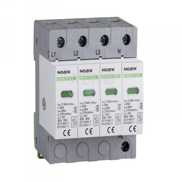 Ogr. przep., typ I+II, 275 V AC, 12,5 kA, wymienna wkładka, 3+N-bieg.