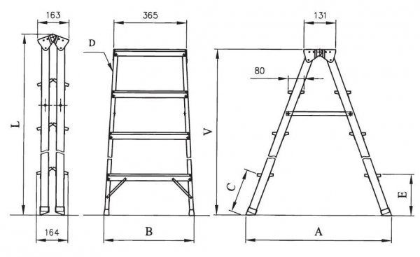 Drabina domowa aluminiowa DHR04