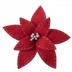 Kwiat Świąteczny WOLLY Czerwony 18CM