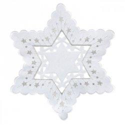 Obrus MAJOLA Świąteczny 30 Biało Srebrny