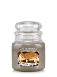 Country Candle - Smoke & S mores - Średni słoik (453g) 2 knoty