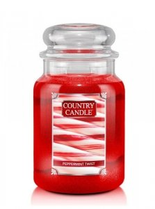 Country Candle - Peppermint Twist - Duży słoik (652g) 2 knoty