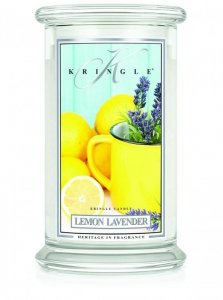 Kringle Candle - Lemon Lavender - duży, klasyczny słoik (623g) z 2 knotami
