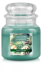 Country Candle - Tinsel Thyme-  Średni słoik (453g) 2 knoty