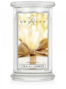 Kringle Candle - Gold & Cashmere - duży, klasyczny słoik (623g) z 2 knotami
