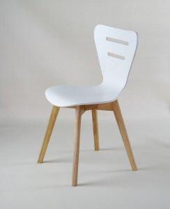 DORIS W - krzesło drewniane białe, dębowa rama