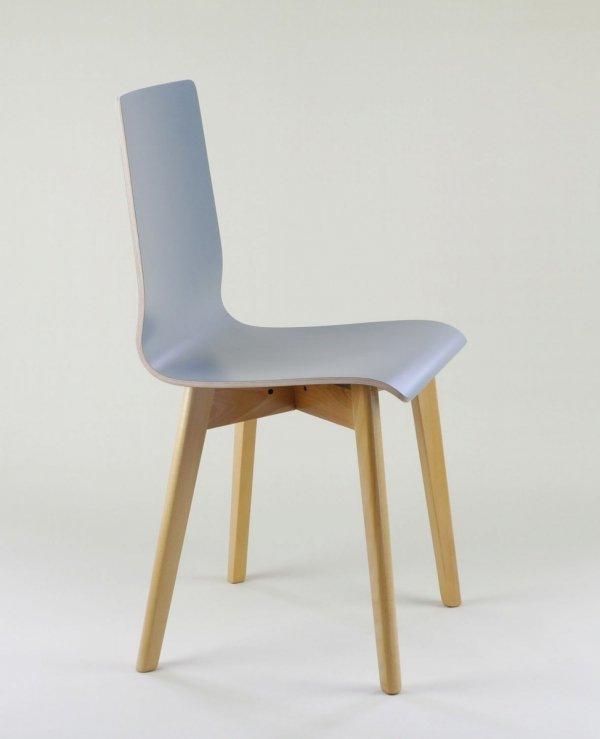 LUKA W - krzesło laminowane szare, bukowa rama