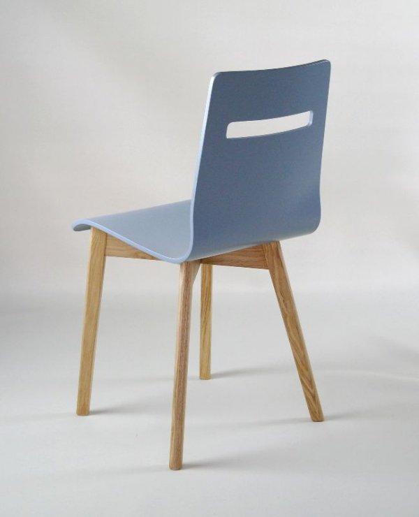 MIA W - krzesło drewniane szare, dębowa rama