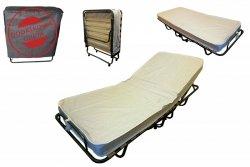 Łóżko składane polowe TOKIO 200 x 80 cm z regulacją zagłówka materac 10 cm
