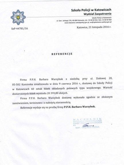 Referencje Szkoły Policji w Katowicach