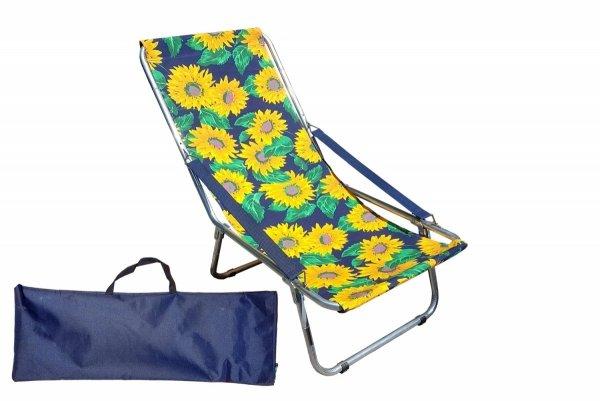 Leżak składany z podłokietnikiem paskowym składany do torby