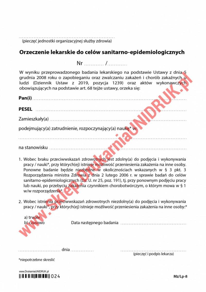 Orzeczenie lekarskie do celów sanitarno-epidemiologicznych - druk