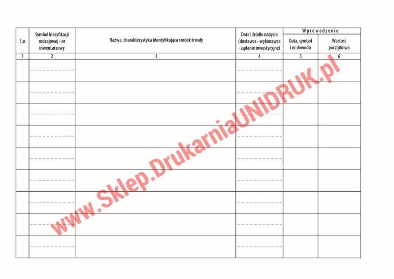 Książka ewidencji środków trwałych  A4 - 100 kart