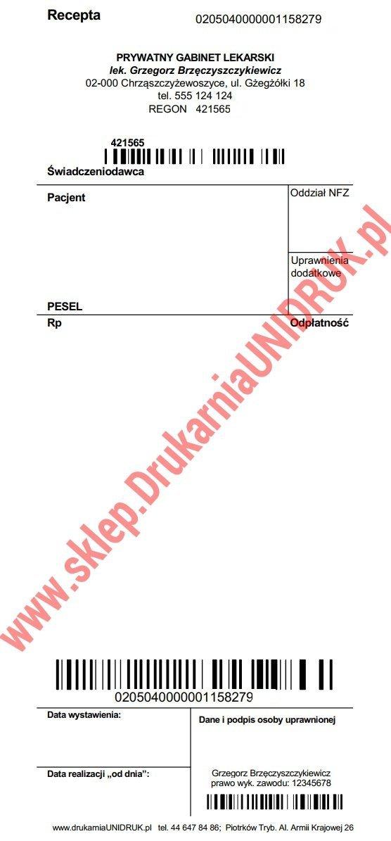 Recepta lekarska Rp/Rpw z kodami NFZ