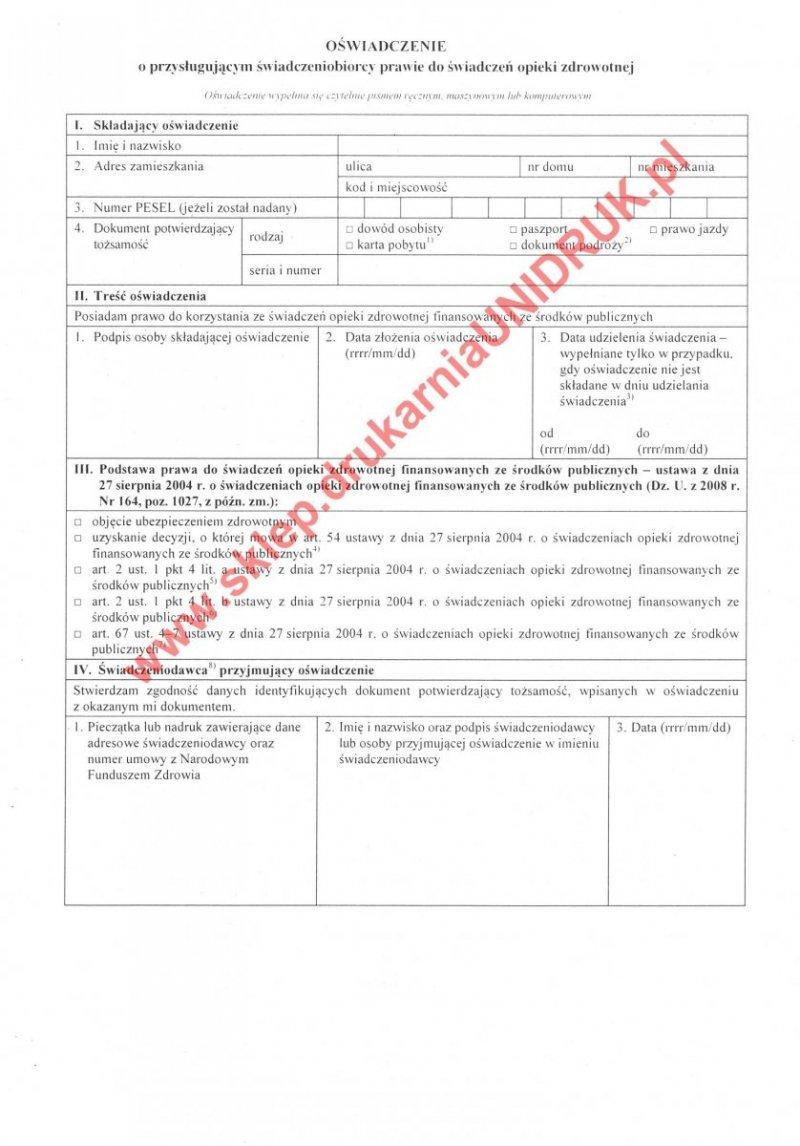 Oświadczenie o prawie do świadczeń - dorośli - druk