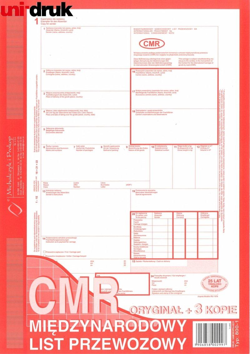 Międzynarodowy List przewozowy CMR 1+3