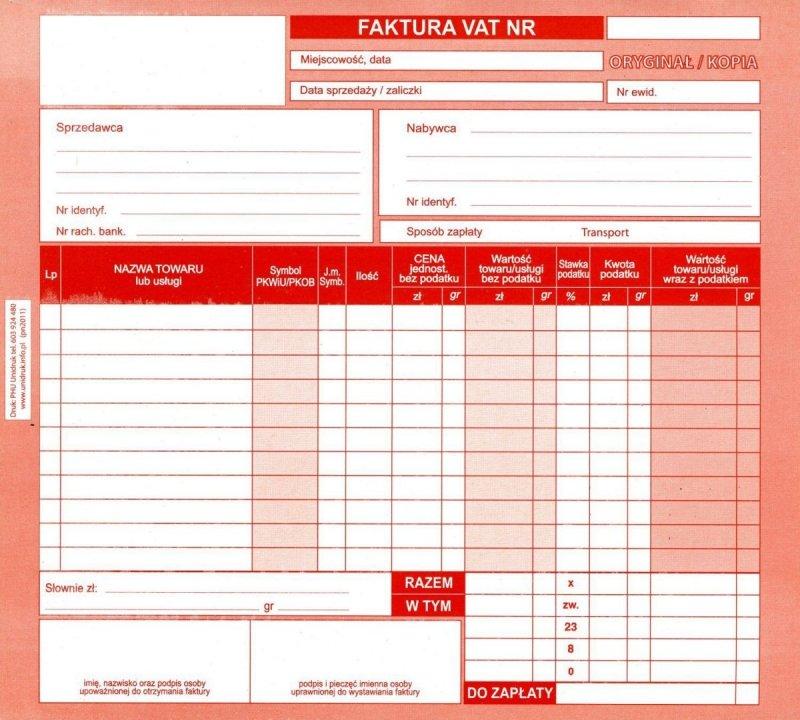 Faktura VAT 1 kopia