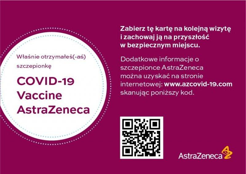 Astra Zeneca - potwierdzenie szczepienia