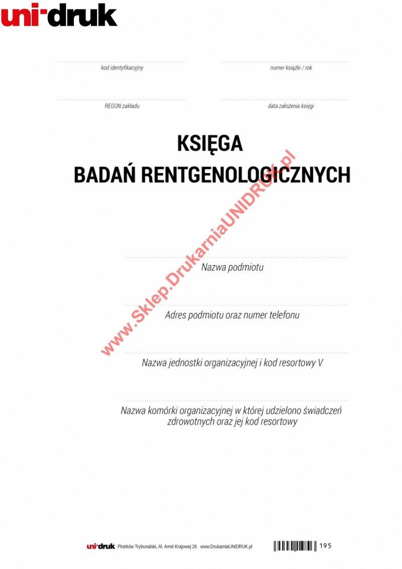 Księga badań rentgenologicznych A4 - 100 kart