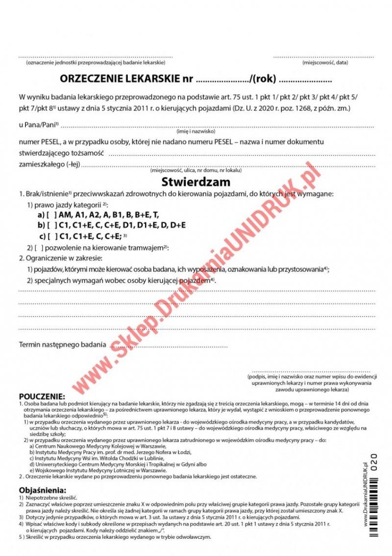 Orzeczenie lekarskie dla kierujących pojazdami - druk