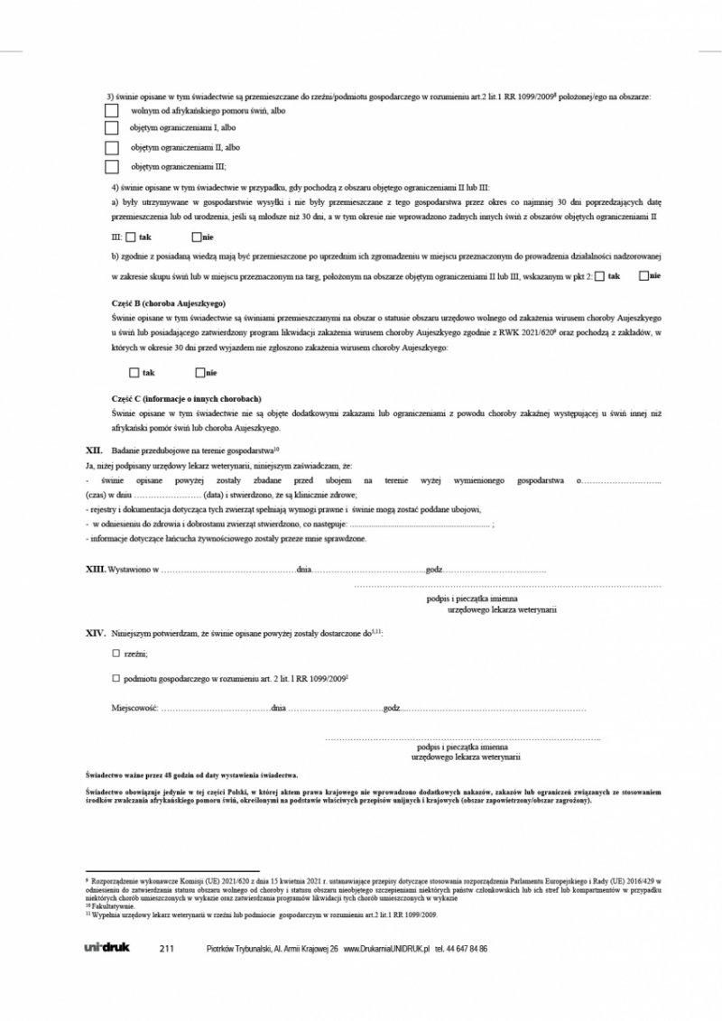 Świadectwo dla świń pochodzących z zakładów/stad urzędowo wolnych od choroby Aujeszkyego - A4