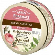 GREEN PHARMACY Peeling Cukrowy Róża Piżmowa I Zielona Herbata 300ml