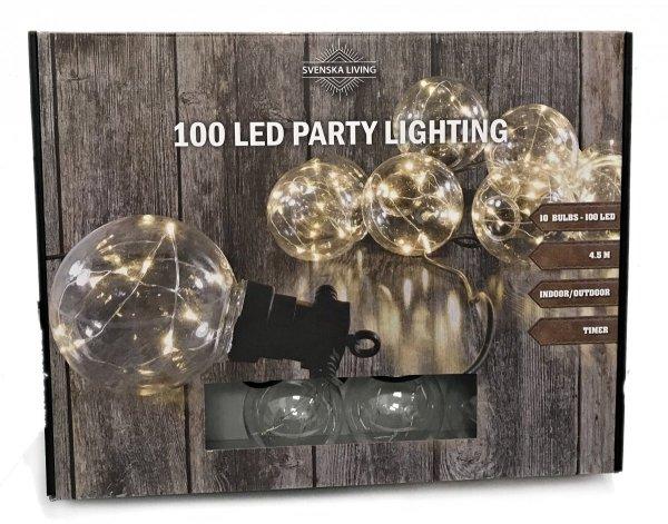 GIRLANDA świetlna ogrodowa 100 LED IP44 prąd BIAŁE