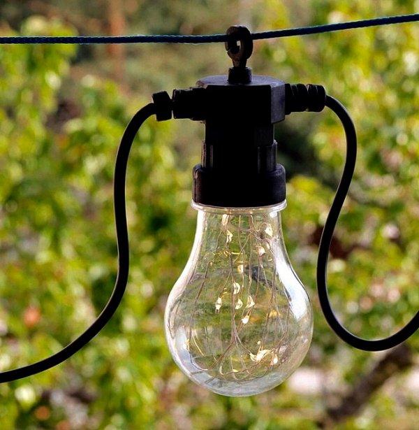 GIRLANDA ŻARÓWKI 10 LED na prąd ZEWNĘTRZNE ciepłe