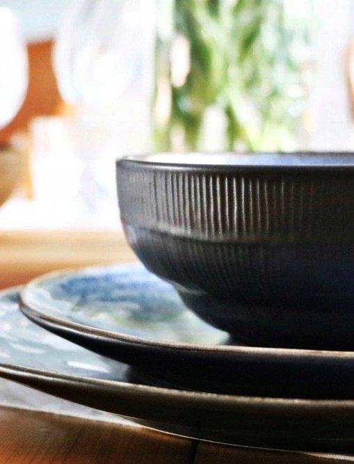 SERWIS obiadowy zestaw TALERZE 18 el BLACK JEANS