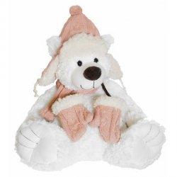 Beppe Miś Niels biały w różowej czapce