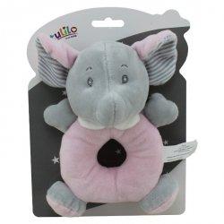 Grzechotka New Baby Słonik w kolorze różowym 18 cm