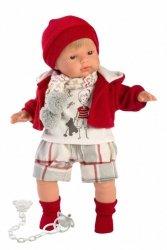 Llorens Lalka płacząca Sasha czerwona bluza i czapka 38555 38 cm
