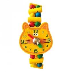 BINO Drewniany zegarek kot