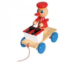 BINO Drewniana zabawka z ksylofonem Pociągnij za kaczkę