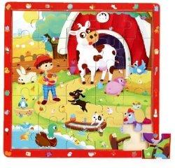 Brimarex Gra i puzzle drewniane TOP BRIGHT - Na wsi, 25 elementów