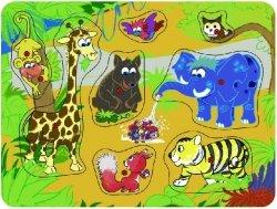 Brimarex Puzzle drewniane z pinezkami TOP BRIGHT - Safari, 8 elementów