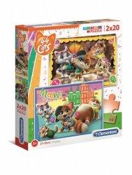 Puzzle 2x20 elementów Super Kolor 44 koty