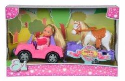 Simba Lalka Evi Love w Jeepie z koniem na przyczepie