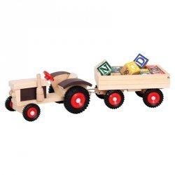 BINO Traktor z przyczepką i klockami literowymi